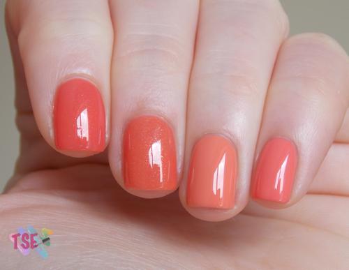 Da esquerda para a direita: Coral Chic (Colorama), Mandarin Orange (Dior), Apuros em Miami (Risqué) e Grande Atração (Colorama)
